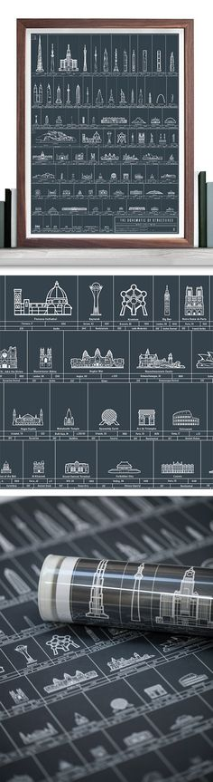 Marvel at the majesty of man-and-womankind's many architectural achievements. The Schematic of Structures keeps you in the know about the location, height, year of construction, and architectural mode of ninety of the world's most amazing buildings. #colossal