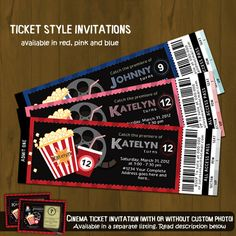 Movie Night Ticket Invitation - Movies and Popcorn Printable Birthday Invitation - Movie Ticket Style - for boys, girls or both. $10.00, via Etsy.