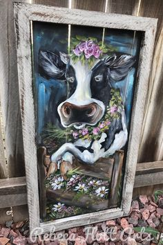 Cow fabulously, hand painted on window screen , originak piece Old Windows Painted, Painted Window Screens, Painted Window Art, Window Pane Art, Painting On Glass Windows, Hand Painted, Window Signs, Vintage Windows, Painted Wood