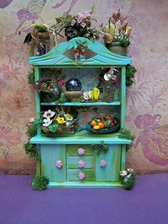 Dollhouse Miniature Cottage Fairy Cabinet by 19thDayMiniatures