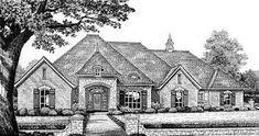 English Country Style House Plans - 2802 Square Foot Home , 1 Story, 4 Bedroom and 3 Bath, 3 Garage Stalls by Monster House Plans - Plan 8-442