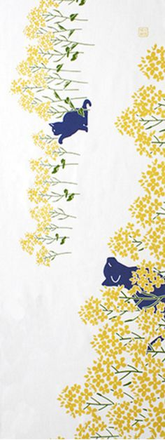 Japanese Tenugui Cotton Fabric, Kawaii Cat & Spring Flower, Hand Dyed Wall Tapestry, Home Decor Wall Art Fabric, Fashion Accessories, JapanLovelyCrafts
