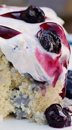 Blueberries and Cream Poke Cake Recipe ~ so moist and very delicious!