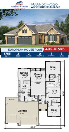 Complete with 1,755 sq. ft., Plan 402-01695 details a European style with 3 bedrooms, 2 bathrooms, cathedral ceilings, and a 3 car garage. #architecture #houseplans #housedesign #homedesign #homedesigns #architecturalplans #newconstruction #floorplans #dreamhome #dreamhouseplans #abhouseplans #besthouseplans #newhome #newhouse #homesweethome #buildingahome #buildahome #residentialplans #residentialhome