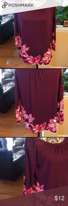 ANN TAYLOR Rayon top. Purple/red. LP.  Great con. Ann Taylor mostly rayon dark purple top w/ red/white flowers on bottom and sleeves.  Elastic sleeves. Medium.  Great condition. Ann Taylor Tops
