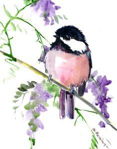watercolor art, Chickadee, one of a kind watercolor painting, bird art, nursery art, children room, chickadee illustration wall art songbird by ORIGINALONLY on Etsy