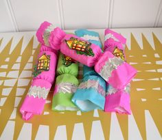 Vintage 70s / 80s Christmas crackers. Crepe paper. Kitsch Xmas