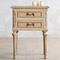 Eloquence One of a Kind Vintage Nightstand Classic Creamy White. #laylagrayce #eloquence