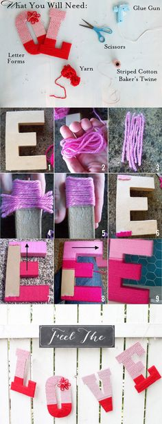 "Such a cute idea for a fall or winter wedding! DYI Wedding Crafts: ""Wrapped in Love"" -Letter Wrapped in Yarn Romantic Valentines Day Ideas, Valentine Day Crafts, Holiday Crafts, Cute Crafts, Diy And Crafts, Arts And Crafts, Wedding Crafts, Diy Wedding, Craft Gifts"