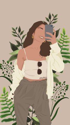 Girl Illustration Art, Illustration Flower, Arte Fashion, Images Instagram, Abstract Face Art, Digital Art Girl, Cartoon Art Styles, Aesthetic Art, Creative Photography