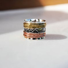 7 bands Spinner RingSterling silver 18 mm ring extra wide