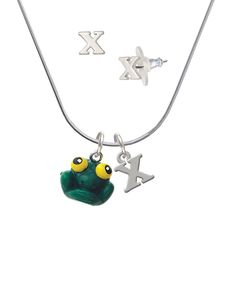 Resin Big Eyed Frog - X Initial Charm Necklace and Stud Earrings Jewelry Set ** Click on the image for additional details. (This is an affiliate link) #WomensJewelry