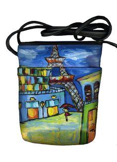 hand painted leather handbag Paris by JacksonArtists on Etsy, $75.00