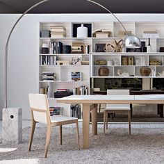 Shelving behind dining table - making use of space