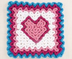 Wiggly Heart Square in the Feb/Mar 2014 issue of Crochet Today magazine. Crochet Granny, Diy Crochet, Crochet Hearts, Wiggly Crochet Patterns, Valentine Tree, Crochet Kitchen, Heart Patterns, Crochet Projects, Needlework