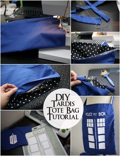 Who Tardis Bag Tutorial with Marissa from Rae Gun Ramblings - Housewife Eclectic Doctor Who Tardis Bag Tutorial with Marissa from Rae Gun RamblingsRAE RAE may stand for: Doctor Who Craft, Diy Doctor, Doctor Who Tardis, Tenth Doctor, Sewing Tutorials, Sewing Crafts, Sewing Projects, Sewing Patterns, Bag Tutorials