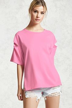 Forever 21 Contemporary - A knit tee featuring a cutout slit detailing at the dropped shoulders, short sleeves, a round neckline, side vents, and an oversized boxy silhouette.