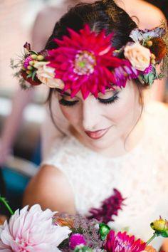 Flower Crown | Moody Wedding Inspiration | Izzy Hudgins Photography | Bridal Musings Wedding Blog