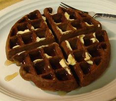 Chocolately goodness in breakfast form.-Chocolate Waffles from scratch