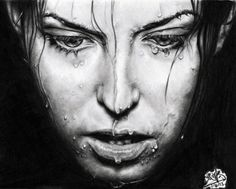 Amazing Drawings in Pencil   Pencil drawing of a girl with wet face by chaseroflight
