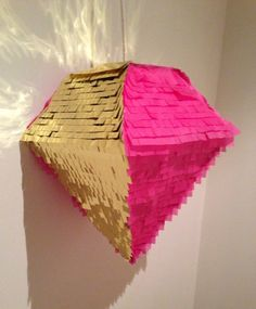 Bi-colour diamond pinata in hot pink and gold. By Party Pony Designer Pinata's in Brisbane. www.partypony.net.au
