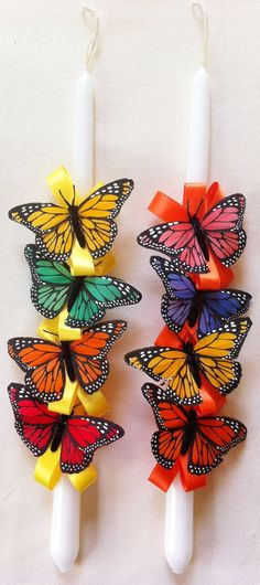 Items similar to Orthodox Easter Candle Butterflies on Etsy Orthodox Easter, Diy And Crafts, Arts And Crafts, Easter Season, Butterfly Decorations, Palm Sunday, Godchild, Daughter Of God, Etsy