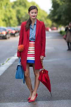 Denim and Bold Color Demonstrated Perfectly! Love this ensemble for the trend!Street Style: London Fashion Week Street Spring 2014