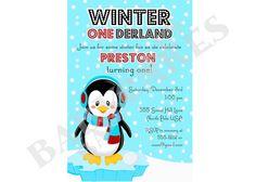 1st Birthday Winter Onderland Invitation  DIY Print by jcbabycakes, $12.00 Winter Onederland Invitations, Diy Invitations, Penguin, Projects To Try, Birthday, Handmade Gifts, Party, Fun, Etsy