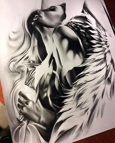 Almost done with this angel warrior! Can't wait to tattoo it!