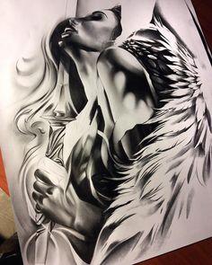 Almost done with this angel warrior! Can't wait to tattoo it! #davidreveles #tattoospooky #blackandgrey #graphite #pencil #pencilwork #art #artist #artoftheday #create #worldofpencils #progress