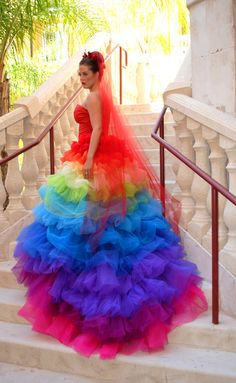 2015 Haute Couture Rainbow Wedding Gown Dress Formal Ball Runway Fashion Ruffled Tulle Skirt Bridal Gowns With Sweetheart Rainbow Wedding Dress, Colored Wedding Dresses, Wedding Colors, Wedding Gowns, Rainbow Dresses, Bridal Gowns, Organza Bridal, Tulle Wedding, Wedding Ideas