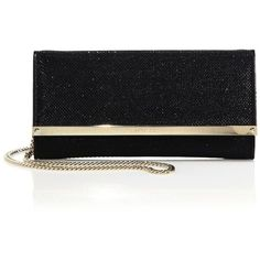 Jimmy Choo Milla Glitter Chain Wallet (2.225 BRL) ❤ liked on Polyvore featuring bags, wallets, apparel & accessories, black, leather credit card holder wallet, credit card holder wallet, evening bags, 100 leather wallet and glitter wallet