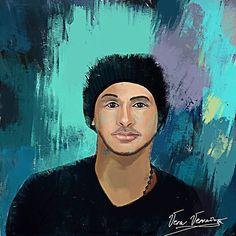 Illustration by @veravervain_1 #veravervain #vervainvera #coloroful #man #blue #cyan #plum #black #cool #hat #portrait #2d #digital #paint #painting #cg #concept #character