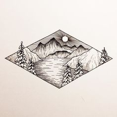 mountain drawing mountains tattoo drawings sketch illustration birthday google tattoos easy nature ink drawn pencil illustrations doodle esteem self space