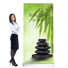 Retractable Pull Up Banner Stand Baby Step Marketing Display Promotion Quotes, Promotional Banners, Retractable Banner, Telescopic Pole, Banner Stands, Banner Printing, Baby Steps, Trade Show, Display