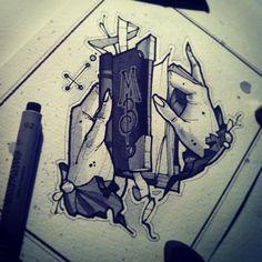 #tattoo #tattooflash #hands #book #watercolor
