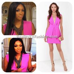 #PorshaWilliams Fuchsia Plunging V-Neck Dress in Confessional Interview #RHOA