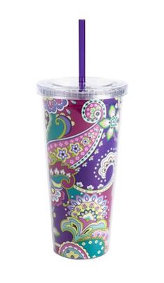 Vera Bradley/cup with straw/print-heather So cute!!! :) #MySuiteSetupSweepstakes