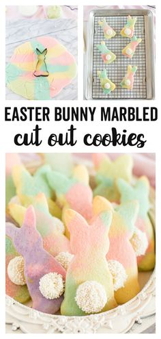 Marbled Easter Bunny Cut Out Cookies - a fun, colorful, and festive cut out cookie recipe that is perfect for Spring and Easter time! Kids will love the fun bunny shapes and the marbled colors. dessert Marbled Easter Bunny Cut Out Cookies Cookies For Kids, Easter Cookies, Easter Treats, Cookie Recipes For Kids, Easter Bunny Cake, Hoppy Easter, Cookie Ideas, Christmas Cookies, Cut Out Cookie Recipe