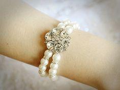 DELPHINE Crystal Bridal Bracelet Vintage Bridal by GlamorousBijoux, $66.00