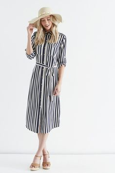 Utility Stripe Shirt Dress