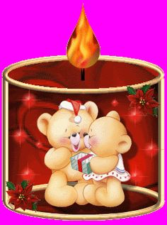 Animated Candle With Teddy Bears