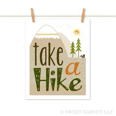 Take a Hike Poster: Summer Camping Print - Mountains, Evergreen Tree, Squirrel - Typography, Chevron, Stripes - Men - Brown, Orange 8 x 10. $15.00, via Etsy.