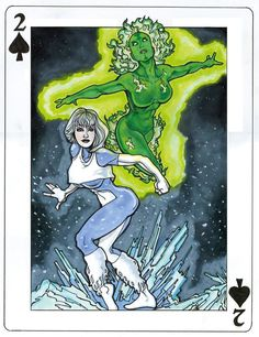 DC Comics Playing Cards by Andrew Amiya: Fire and Ice   more here: http://playingcardcollector.net/2015/02/18/dc-comics-playing-cards-by-andrew-amiya/