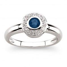 #8 White Gold Bezel Set Sapphire Ring with diamond halo
