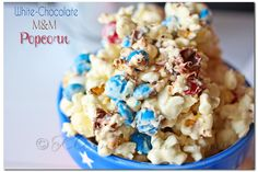 White Chocolate M Popcorn ~ Project 52 Week 26 - Kleinworth & Co Chocolate Covered Popcorn, Chocolate Snacks, White Chocolate Chips, Chocolate Recipes, Popcorn Recipes, Fudge Recipes, Snack Recipes, Dessert Recipes, Easy Recipes