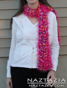 Free Pattern - Crochet Fuzzy Eye Lash Eyelash Yarn Scarf - Crocheted by Donna Wolfe from Naztazia
