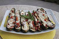 Grilled Stuffed Zucchini Boats by fareway #Zucchini_Boats #Sausage #Pepper #Onion #Easy