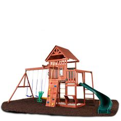 Cedar Brook Wood Complete Ready-to-Assemble Kit Residential Wood Playset with Swings