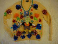 deb woman's ugly christmas sweater large yellow jimney cricket disney tacky party winner by keriblue4 on Etsy